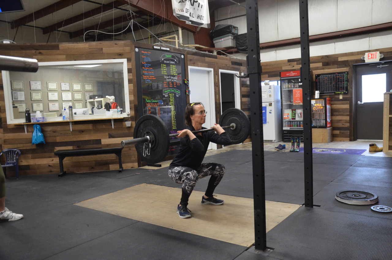 Donna showing good form on her Front Squats.