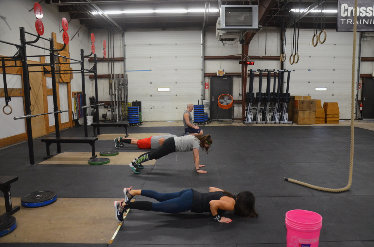 The 4pm class at the start of their max unbroken push-ups.