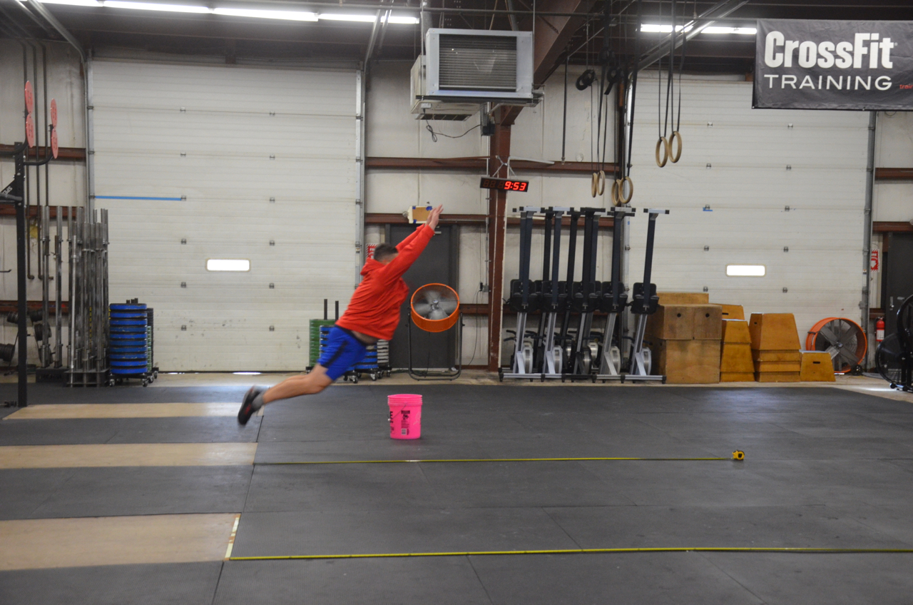 Jeff showing a nice extension on his max distance broad jump.