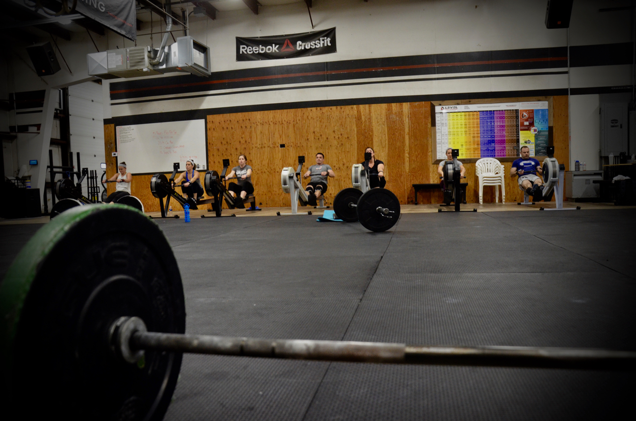 The 4pm class on their first round of 20/15 calorie row.