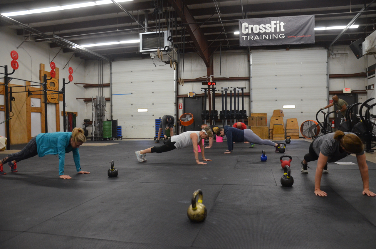 Part of the 9:30am class holding their planks.