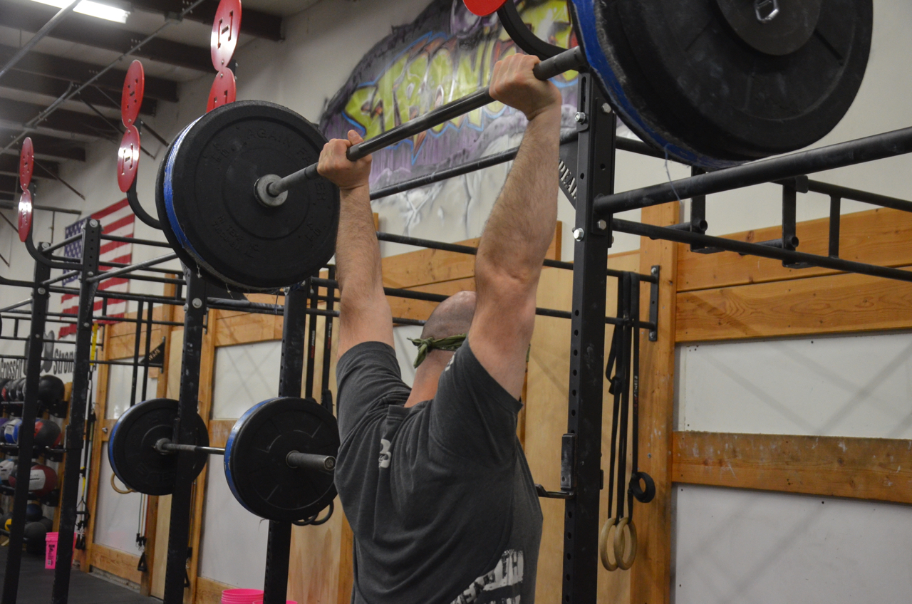 Jim showing a nice lockout on his push-press.