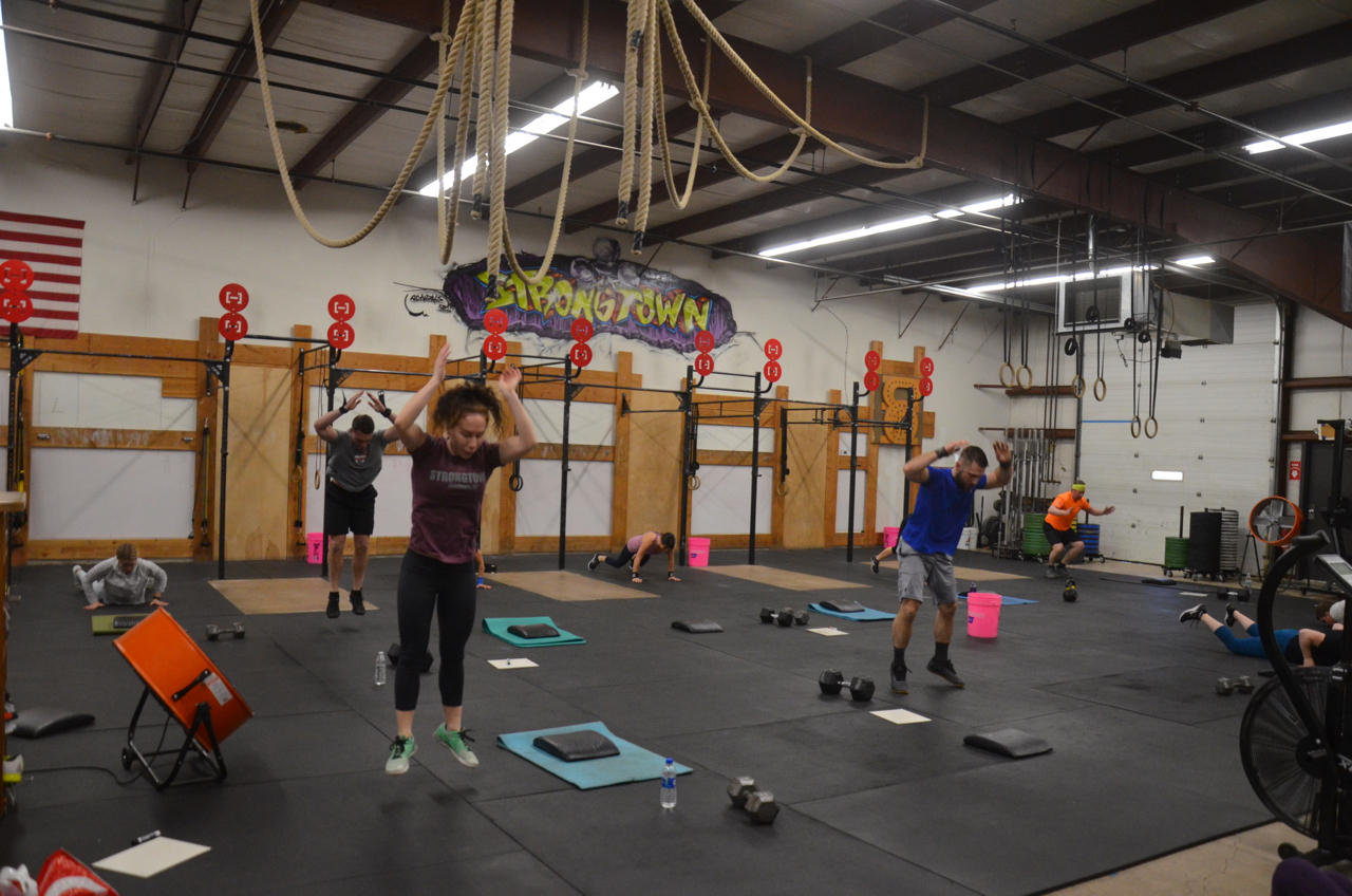 The 4pm class during 4 minutes of max burpees.