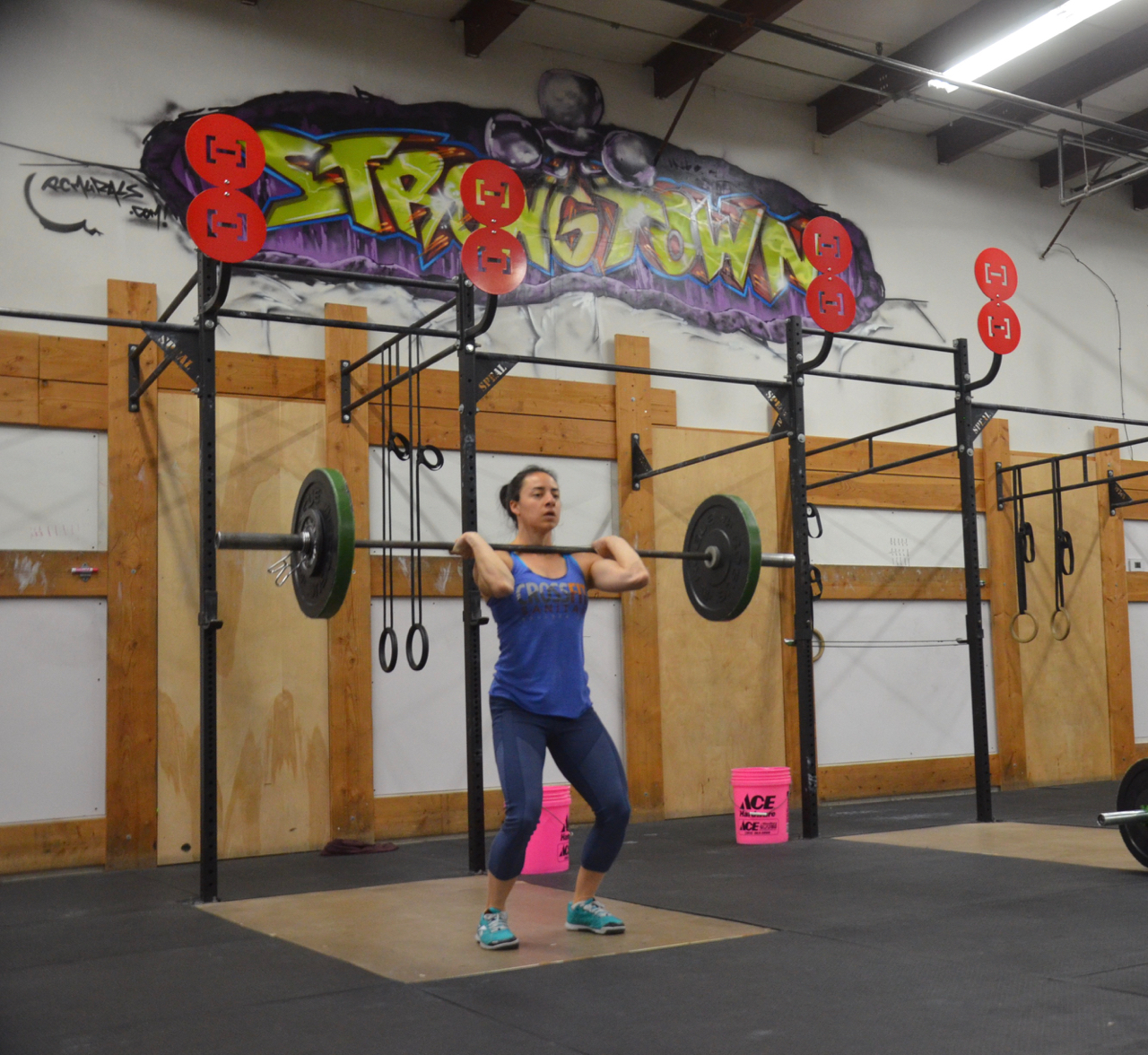 Kate showing a great catch position on her power cleans.