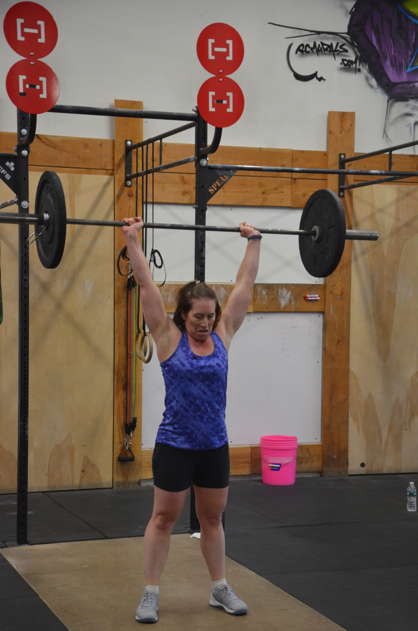 Rachel showing a nice finish position on her Thrusters.