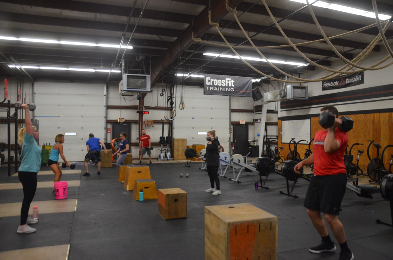 The 4pm class during their first round of today's metcon.