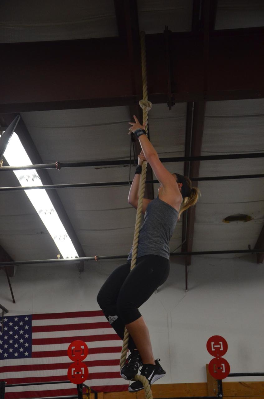 Amanda making her way up the rope.