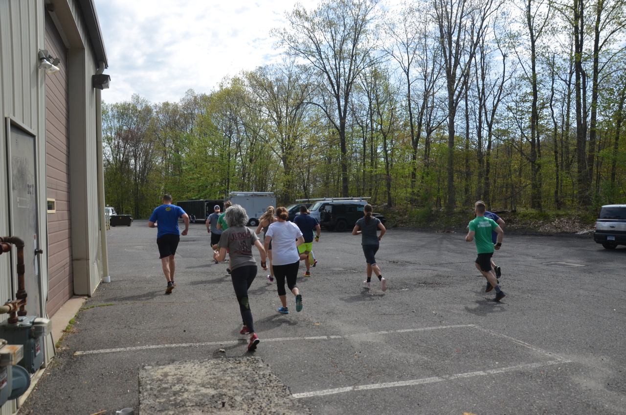 The 9:30am class at the start of today's workout.
