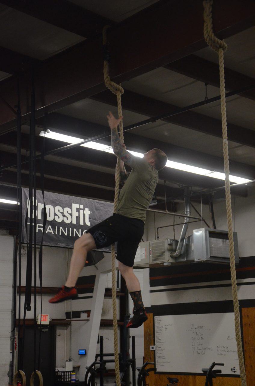 Kevin going legless for his rope climbs.