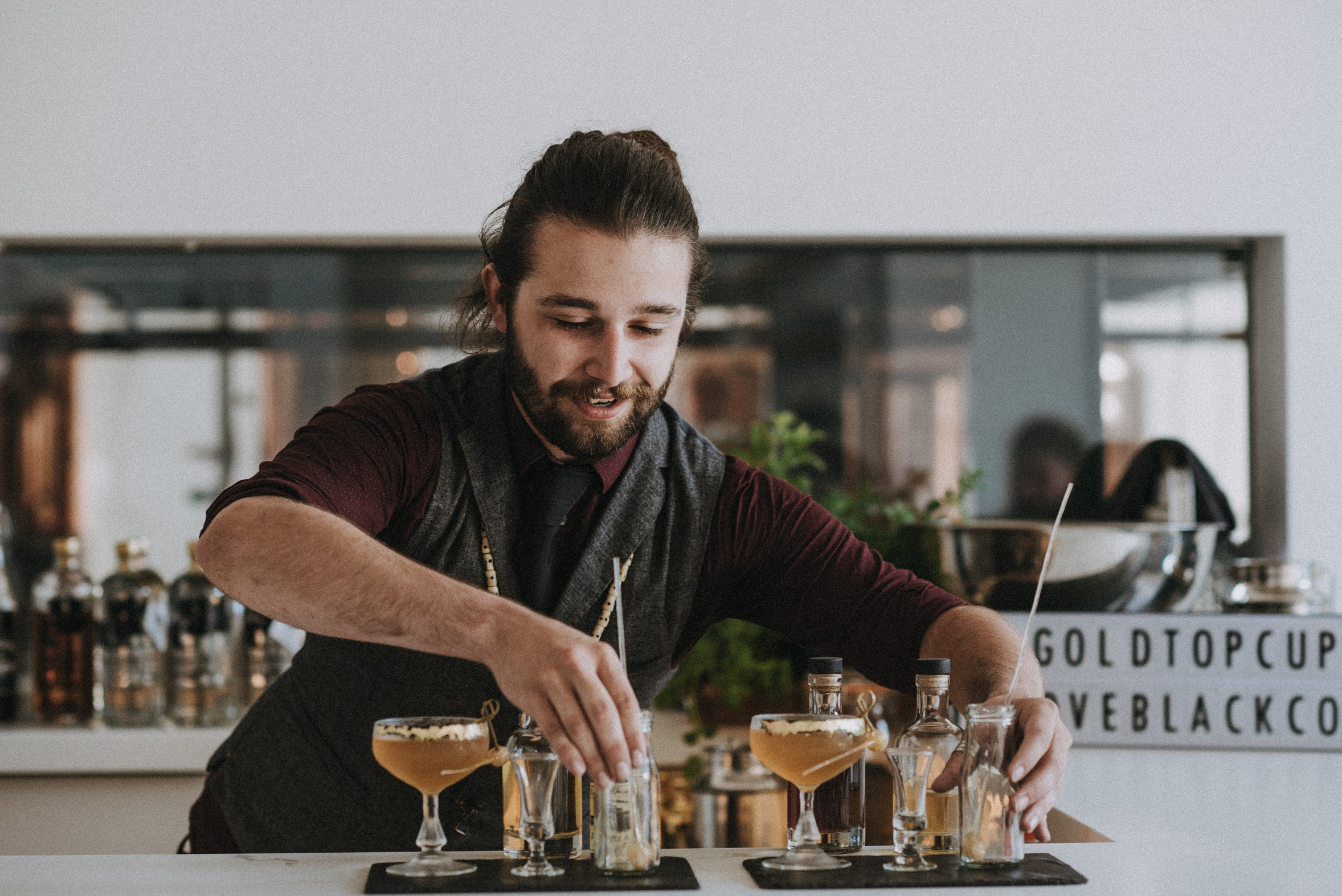Tom Gabb from Drakes of Brighton with his cocktail: The Milky Way.