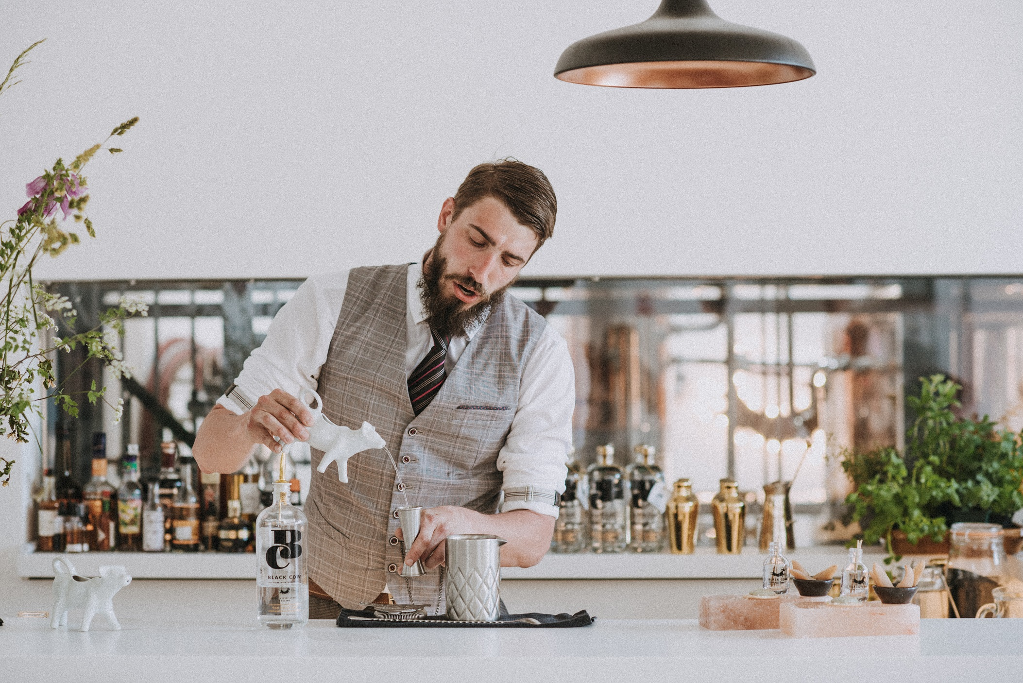 Massiiliano Terrile from London's Duck & Waffle serves up his cocktail, Dictum.