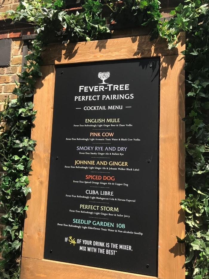 Fever-Tree menu