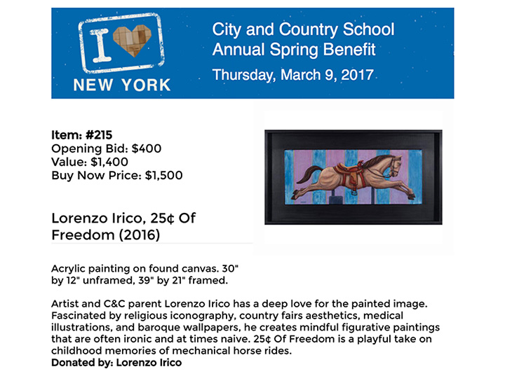 City & Country School NYC - fundraising donation 3/2017