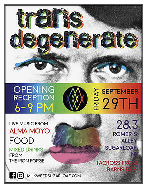 Trans Degenerate : Art Attacks Back!  Group Exhibit 9/2017  Milkweed Gallery 3 Romer's Alley, Sugar Loaf, NY