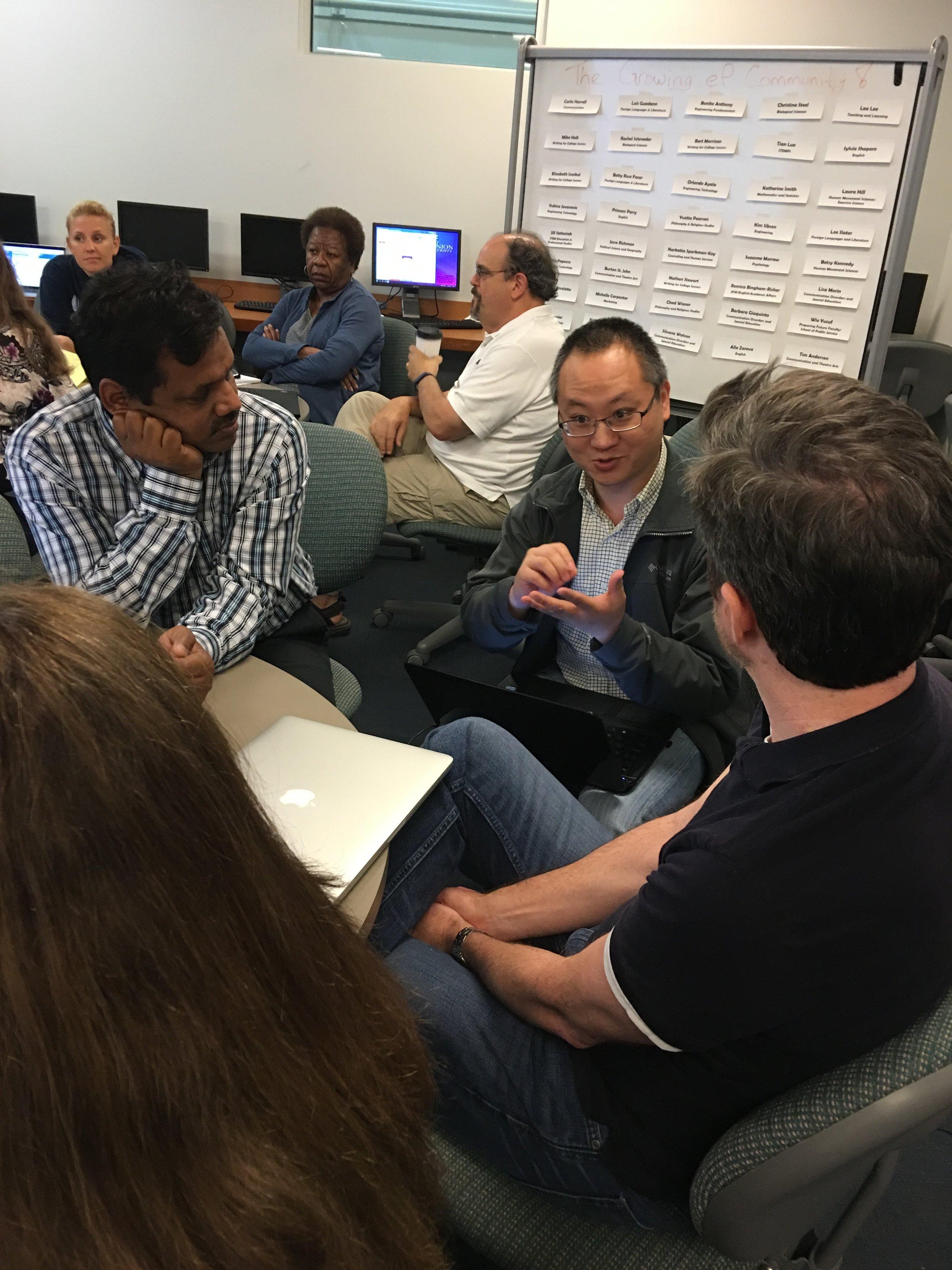STEM Faculty collaborates on an e-Portfolio activity.
