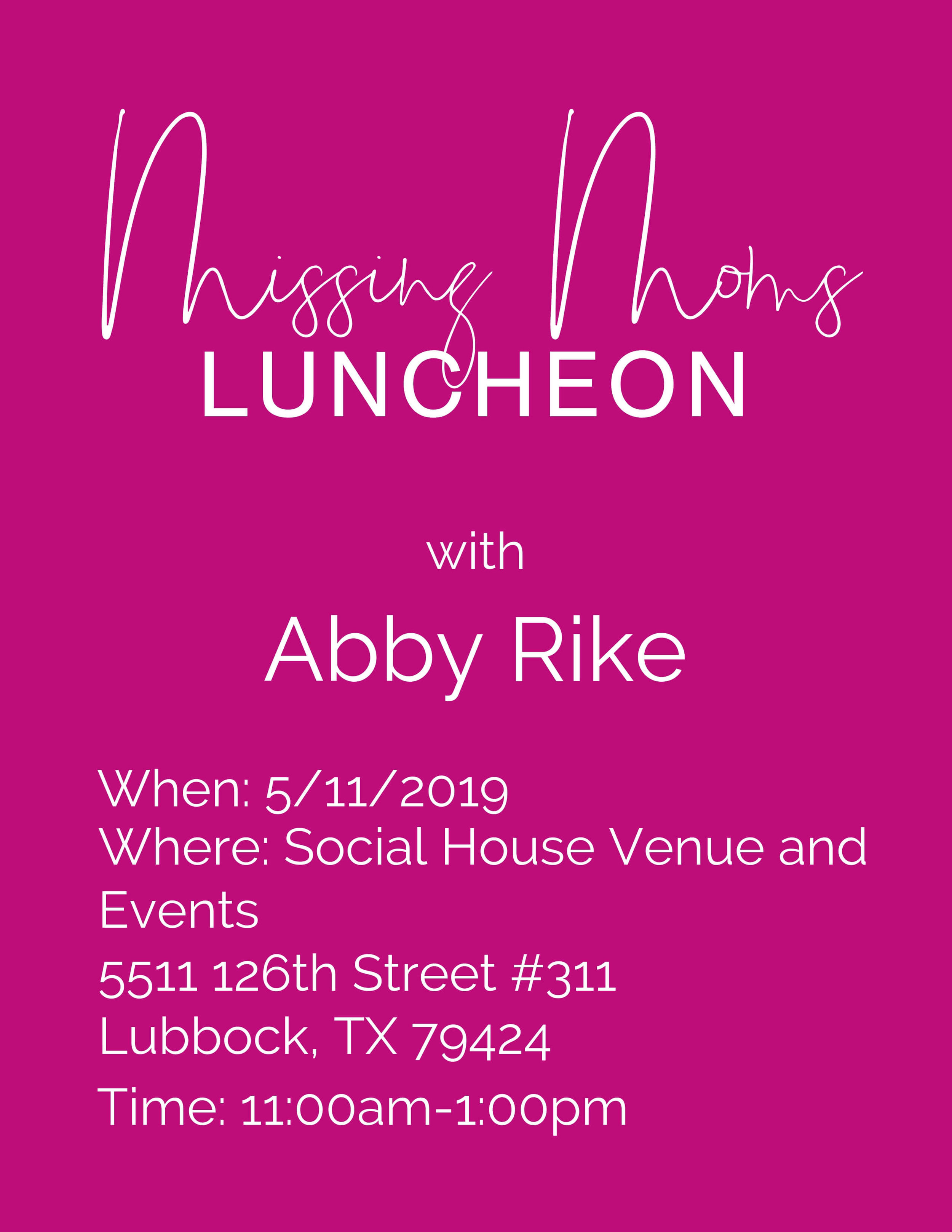Speaking-event-missing-moms-luncheon-lubbock-texas