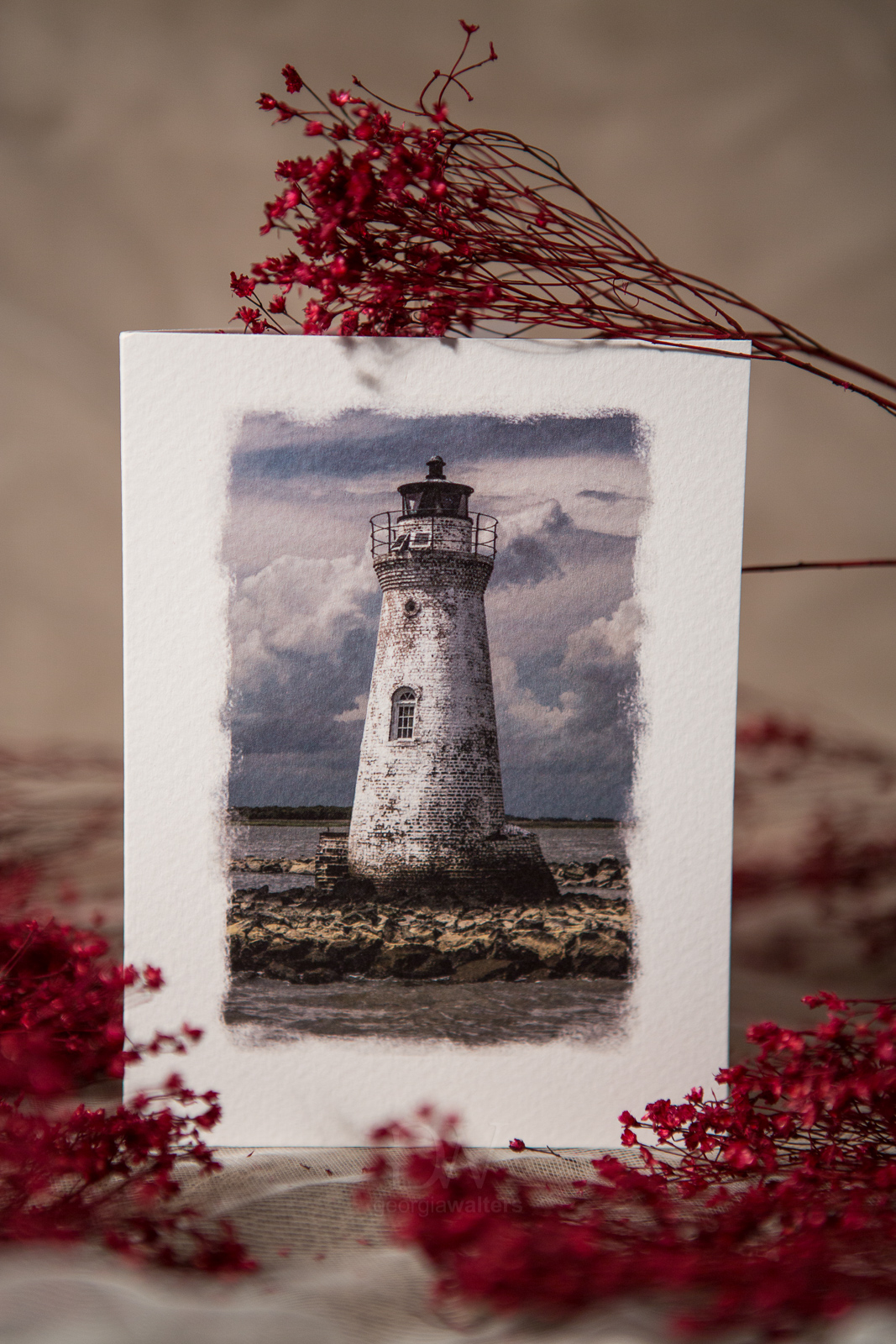 Fine art note card with the Cockspur Lighthouse