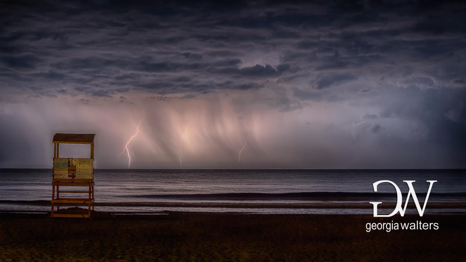 Lighting dancing across the ocean just off the beaches of Tybee Island.
