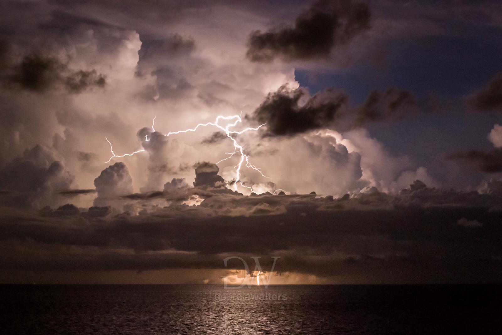 Storm rages over the ocean
