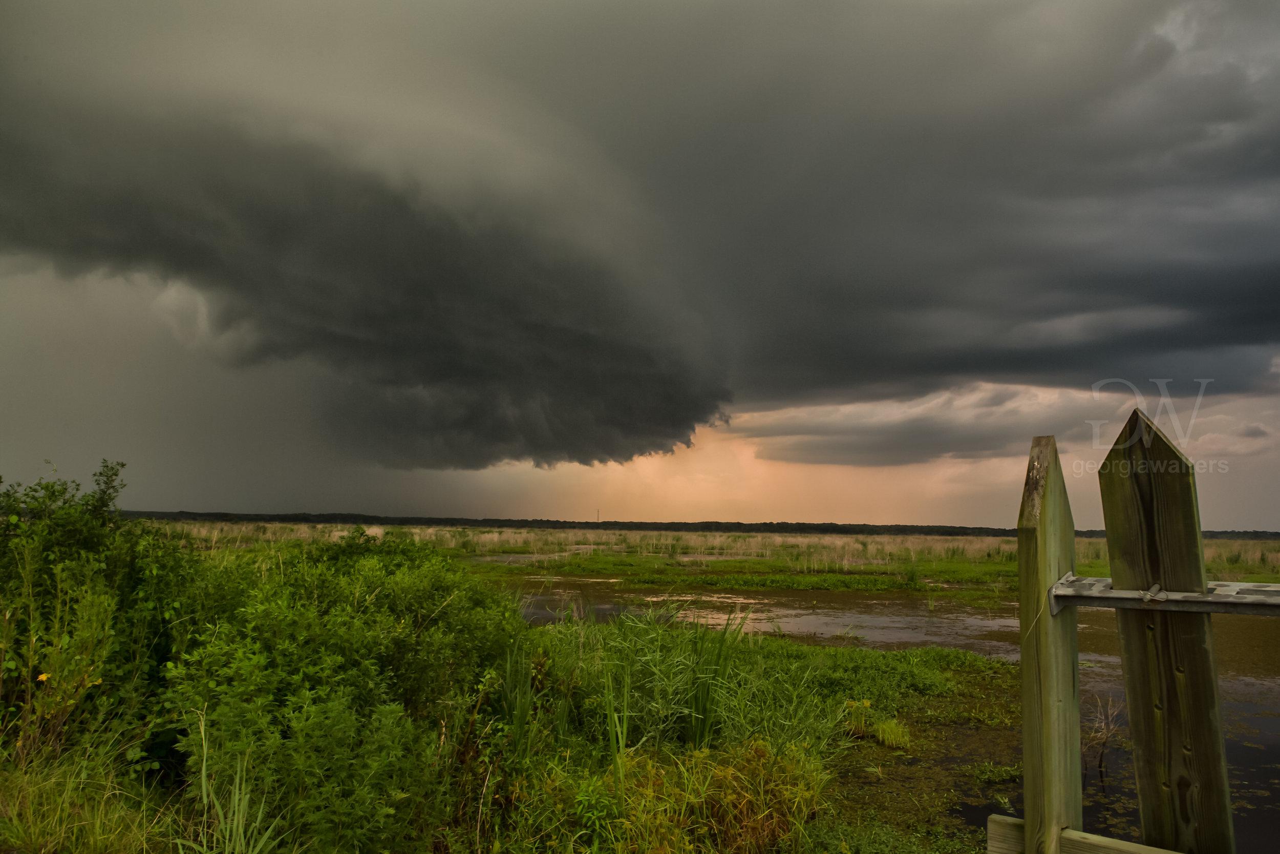 A dark shelf cloud inches across the Savannah Wildlife Refuge.