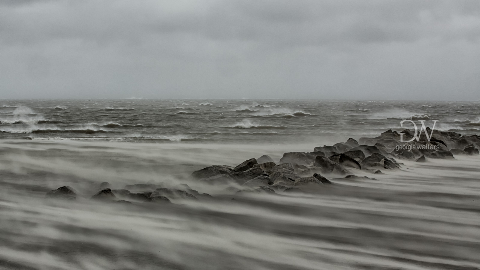 Blowing sand during Hurricane Matthew on Tybee Island, GA.