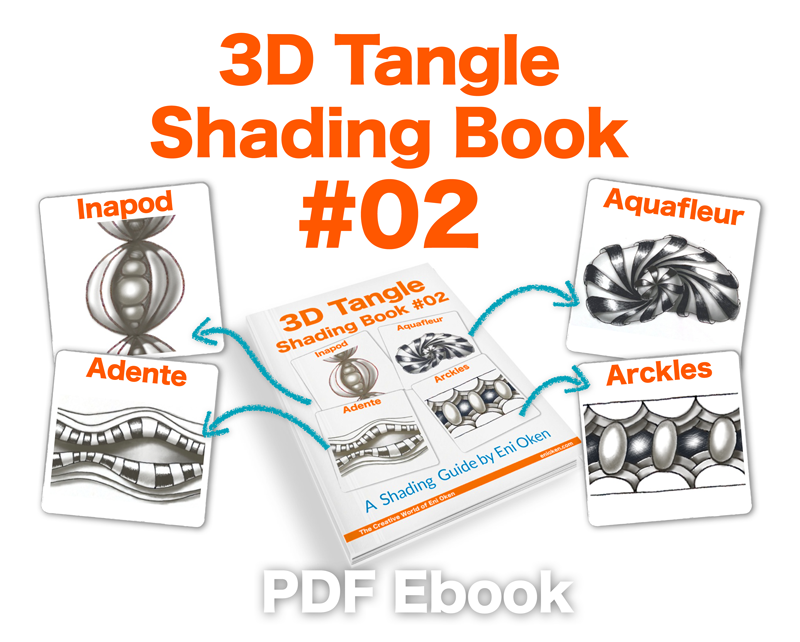 Learn how to shade 4 tangle patterns • ebook by Eni Oken • enioken.com