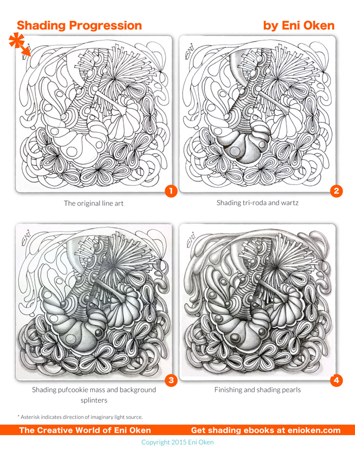 Shading a Zentangle-inspired tile by Eni Oken.