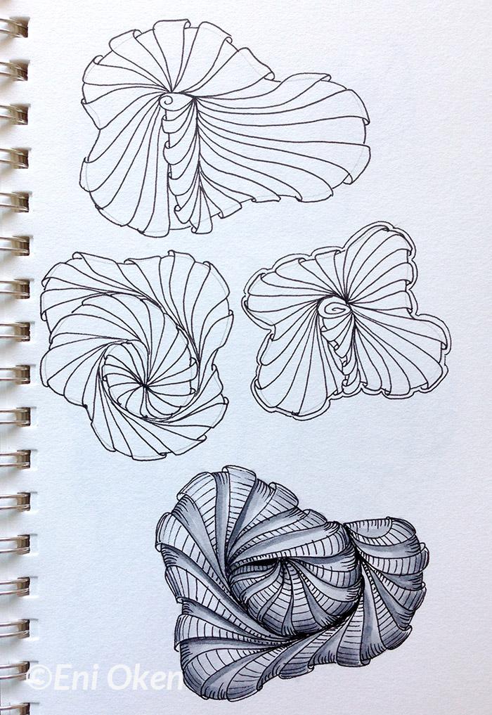 Practicing Aquafleur on a sketch book • enioken.com