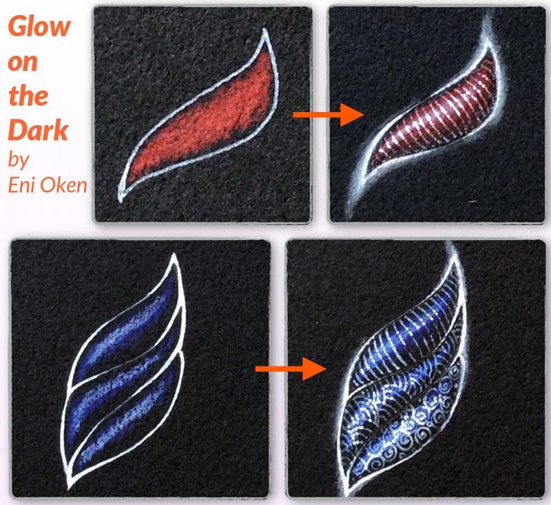 Learn how to shade Zentangle over black tile • enioken.com