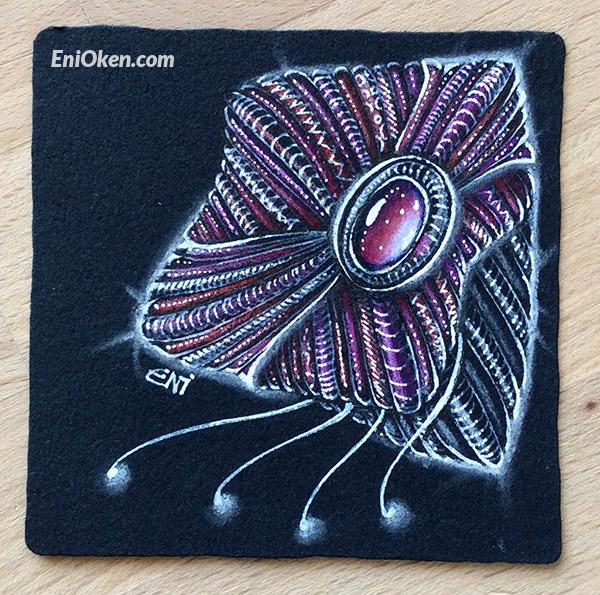 Learn how to shade over Black Zentangle® tile • enioken.com