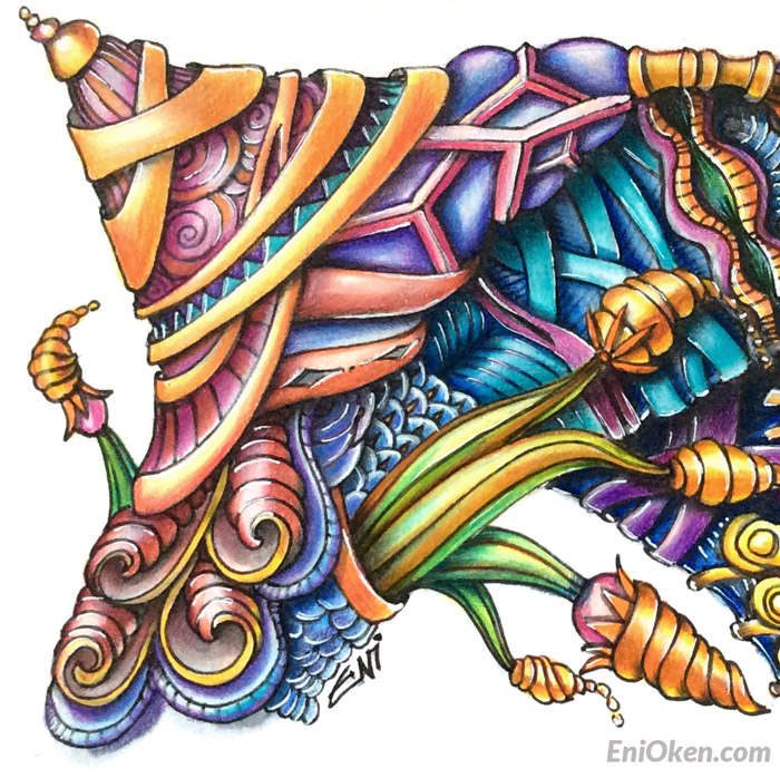 Create incredible color shading on Zentangle®, ZIA and coloring books • enioken.com