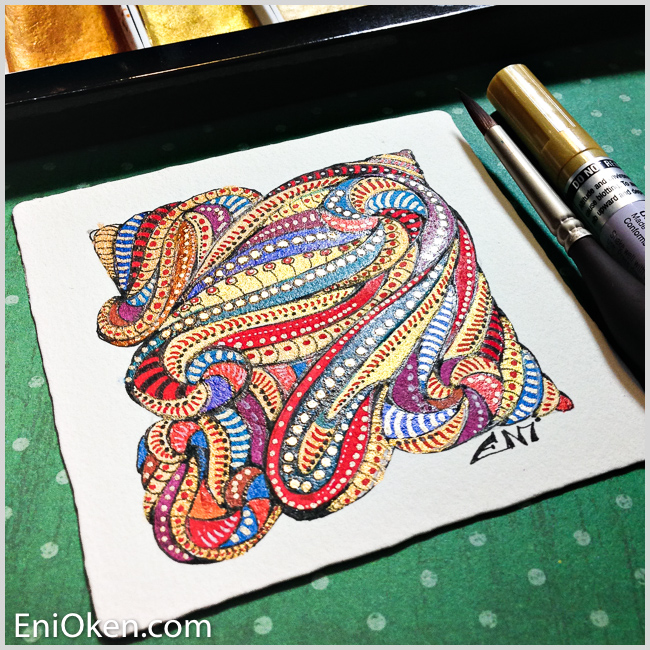 Learn to create shimmering gilded Zentangle® • enioken.com