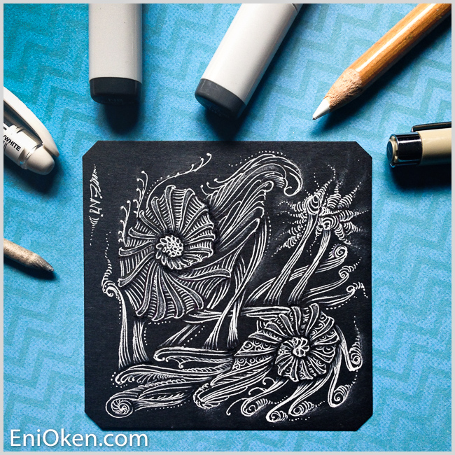 Learn to shade Zentangle® over black tile with Eni Oken's Glow on Dark technique • enioken