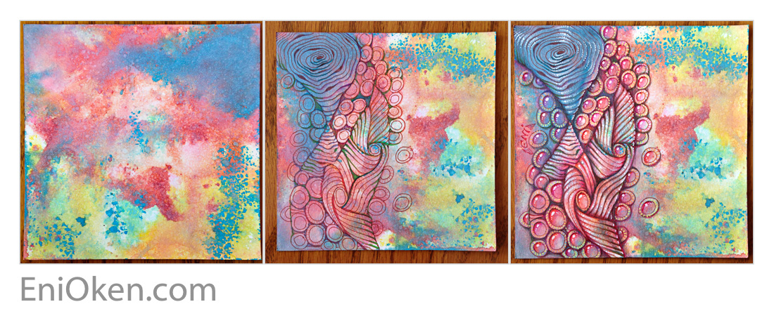 Learn how create amazing Zentangle® over distressed tiles • enioken.com