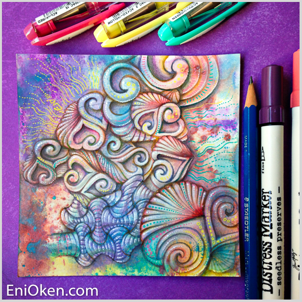 Learn how to create Zentangle over distressed tiles • enioken.com
