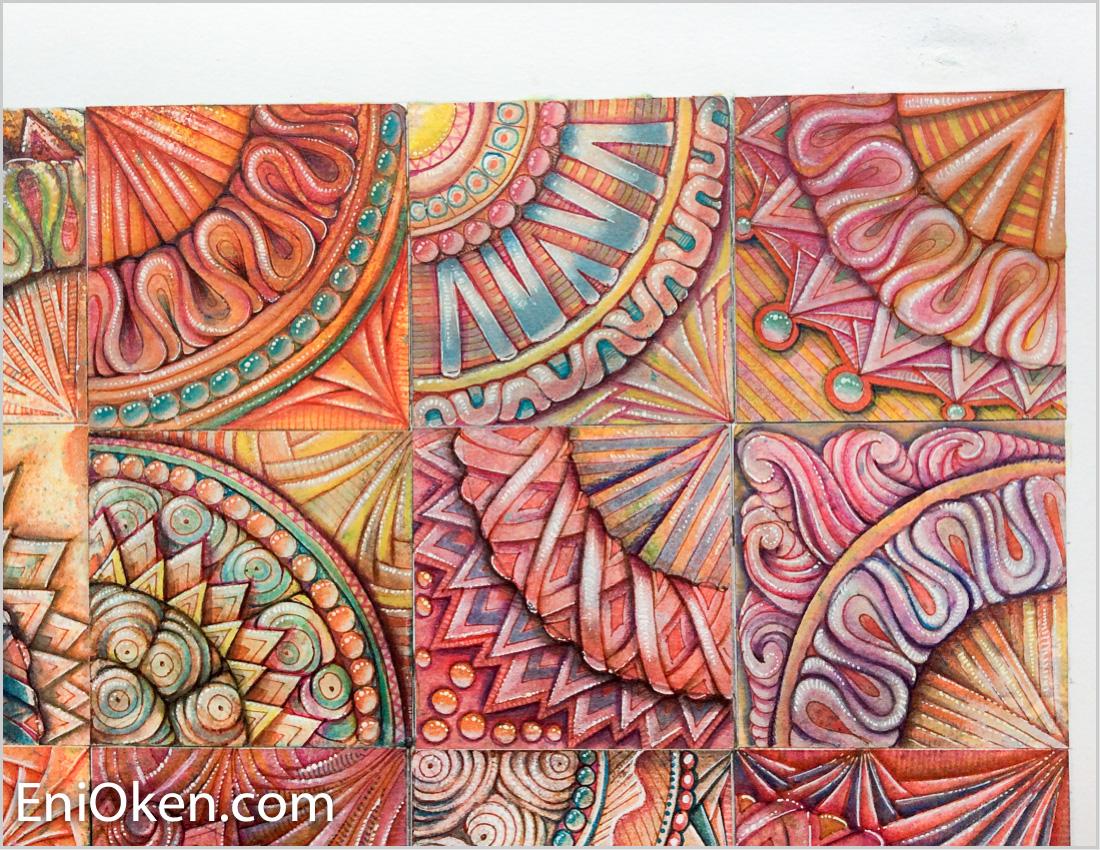 A quilt made of distress ink Zentangle® tiles • enioken.com