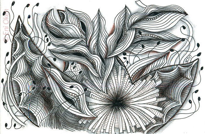 Early Zentangle inspired drawing • enioken.com