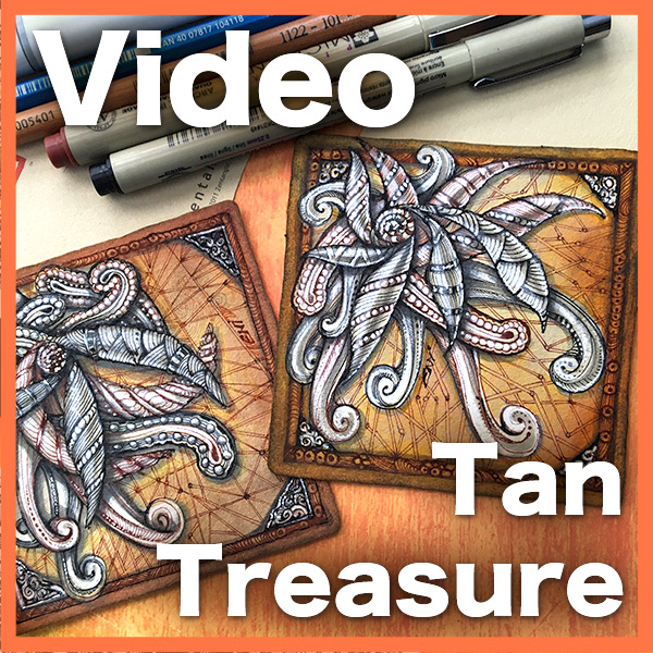Tan Treasure Video Lesson - This fantastic video shows you how to use Renaissance brown and black techniques over tan tiles.