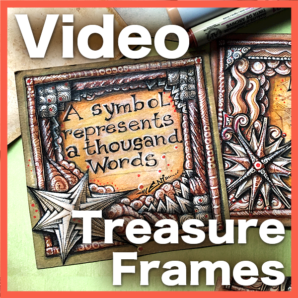 Treasure Frames Video Lesson - Learn how to prepare Tan Parchment tiles, how to center and create a quote, and how to create a gorgeous frame using Renaissance techniques.