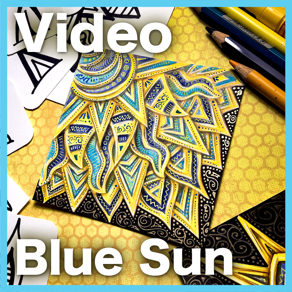 Blue Sun Video Lesson - Learn how to create this gorgeous project using yellow markers, colored pencils, while leveraging a modular system full of overlap. 55 minute video.