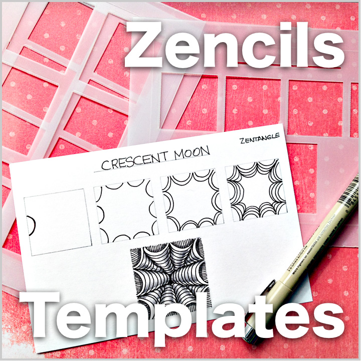 Get organized with Zencils - Plastic Templates - I developed these plastic templates specifically to create Zentangle Step-outs and Art Recipe Cards. You can find them at Jenny Perruzzi's Acadia Laser shop on Etsy: