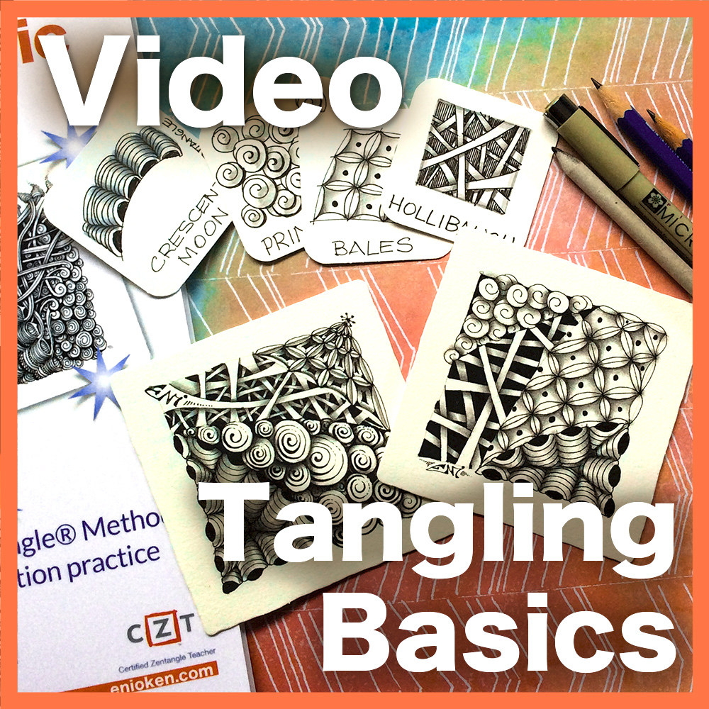 Tangling Basics Video Lesson - Learn the basics of the Zentangle® Method from a CZT in this hour long video. Learn the reasons behind the successful art method and how to reach Zen flow. Delivery via email link