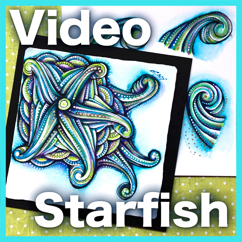 Starfish Line Interrupted Video Lesson - Explore different ways to manipulate the line to produce delicate colored blends with mixed media in this lovely starfish project. An intermediate mixed-media 40-minute long video.