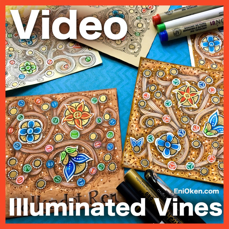 Illuminated Vines new lesson, now available for Art Club - This lesson shows you how to create this gorgeous design inspired and adapted by 15th Century Illuminated Manuscripts. Sign up for Art Club today and get this lesson now.