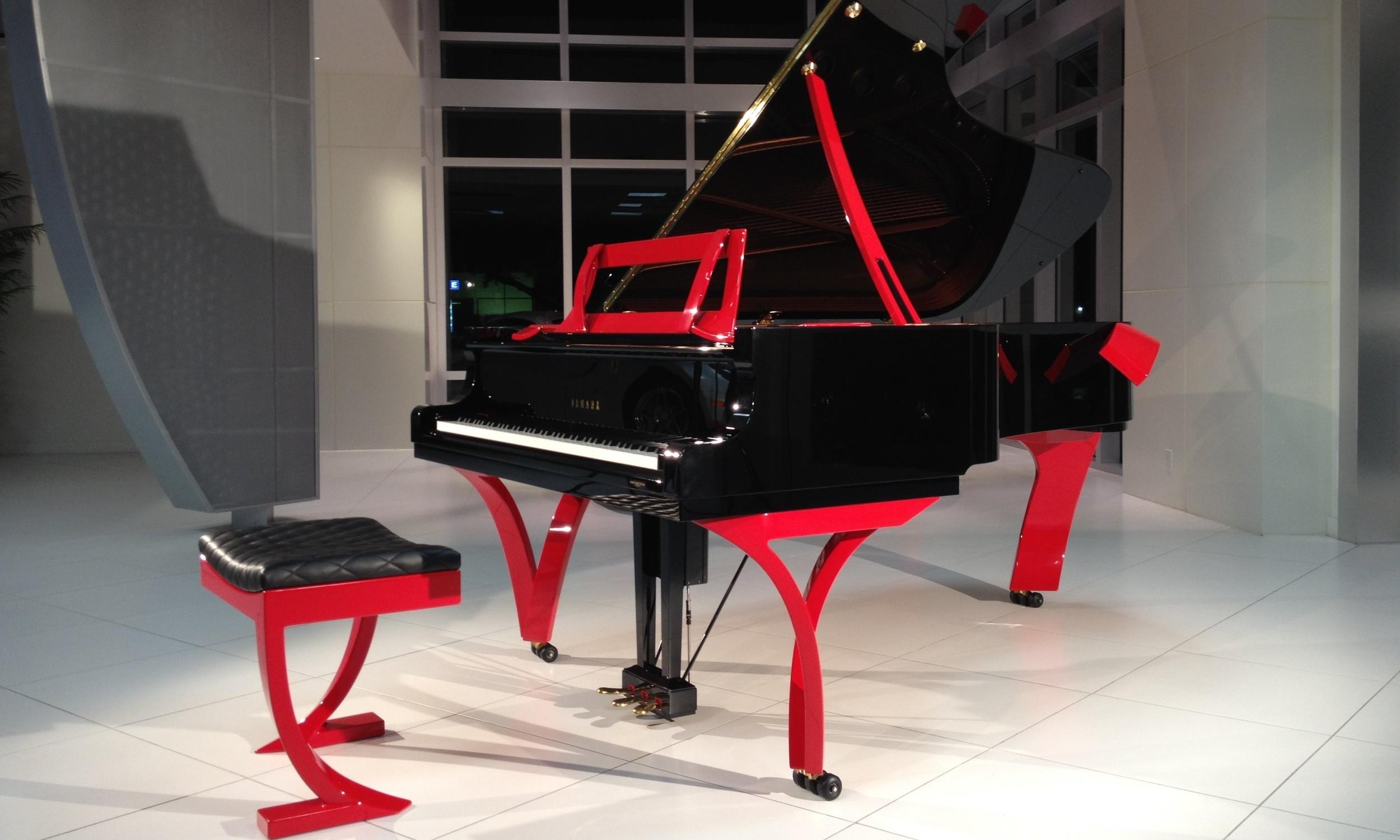 Custom Ferrari Red Piano by J Elliott & Co