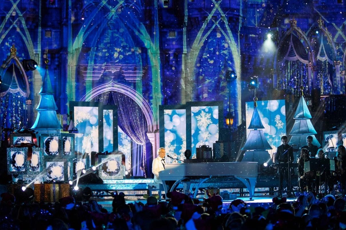 Andrea Bocelli Disney Magical Holiday Celebration white piano