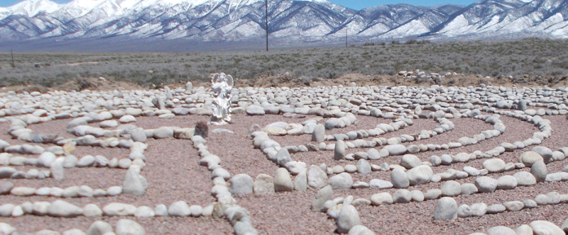The labyrinth with a view of the sangre de cristo mountains