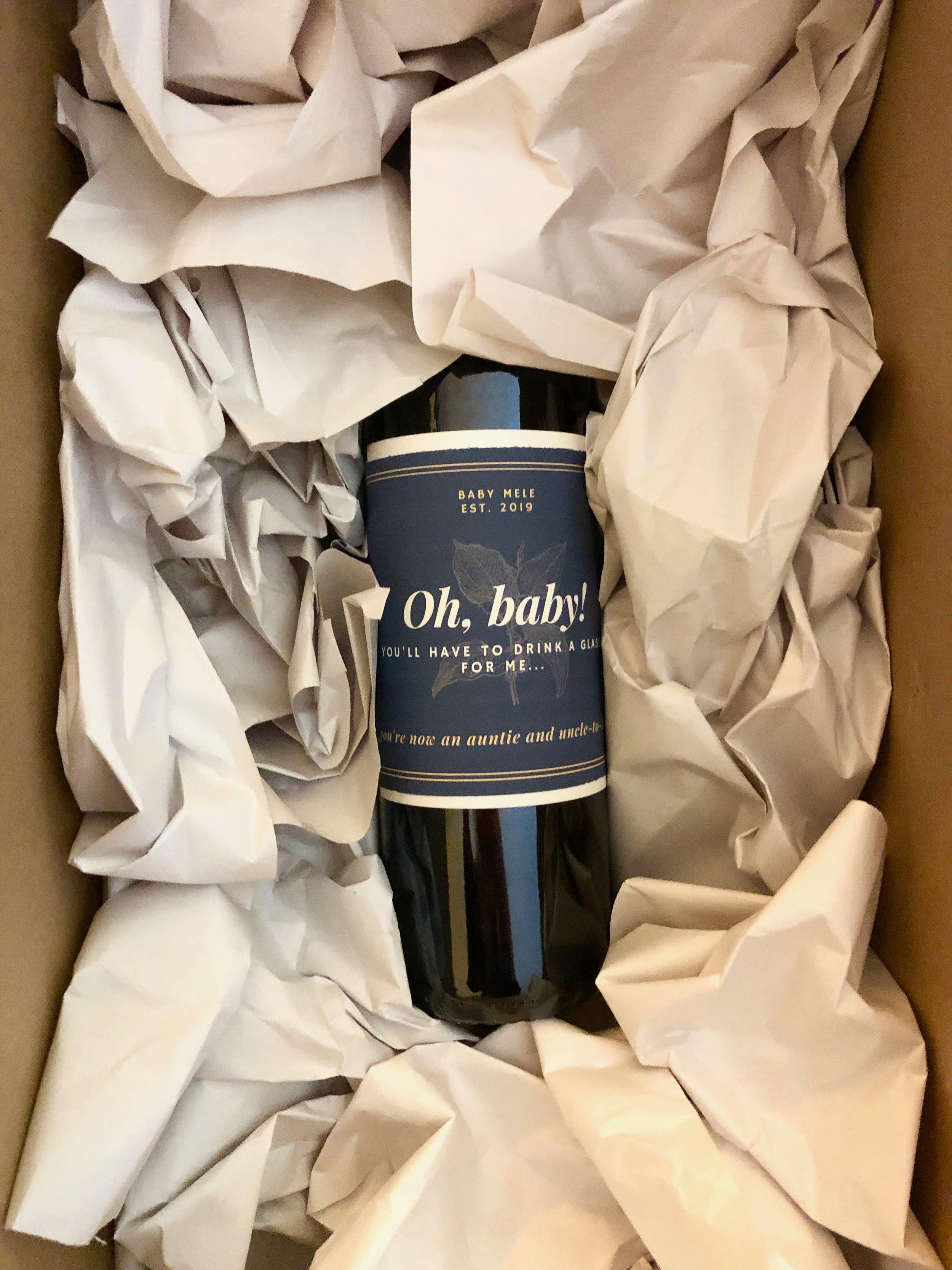Wine bottle announcement - Denver personal stylist