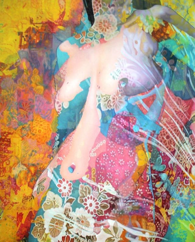 "Title: ""Spring/ Lente"" Artist: Menunana  #schilderij #painting #colors #contemporaryart #body #flowers #visionaryrealism #visionaryart #almostnude #oilpainting"