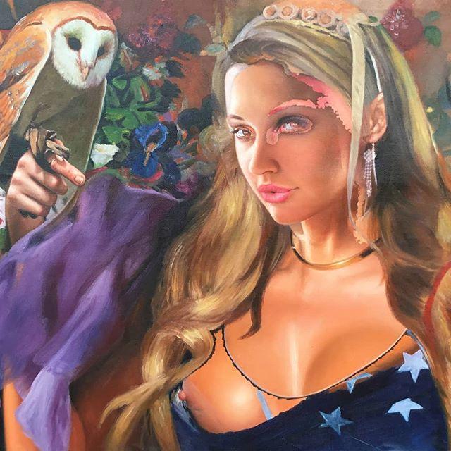 Painting halfway... No title yet Artist: Menunana.com  #owl #wisdom #allseeingeye #surrealism  #contemporaryart #visionaryrealism #visionaryart #painting #schilderij #olieverf #dutchartist #kunst #kunstenaar @alettaoceanofficial1